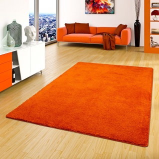 Hochflor Shaggy Teppich Palace Orange
