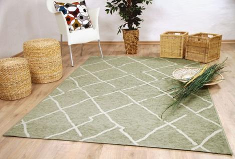 In & Outdoor Chenille Teppich Flachgewebe Scala Grün Beige Karo - Vorschau 2