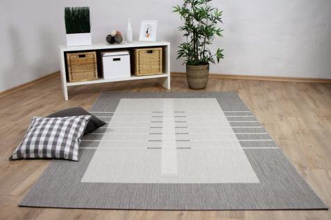 In- und Outdoor Teppich Flachgewebe Carpetto Bordüre Trend Grau