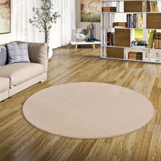 Hochflor Luxus Velours Teppich Touch Natur Rund