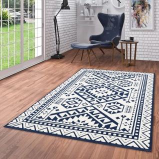 In- und Outdoor Teppich Flachgewebe Santorin Ethno Bordüre Blau Creme