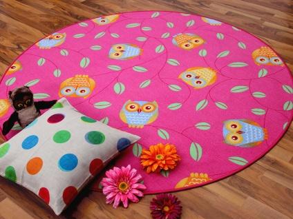Kinder Spielteppich Eule Pink Rund in 7 Größen