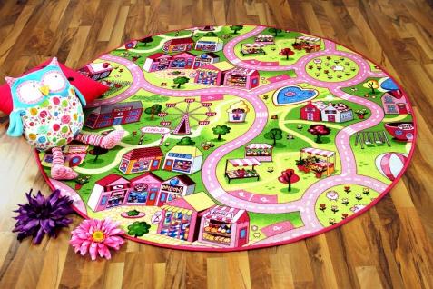 Kinder Spiel Teppich Girls Rosa Village Rund