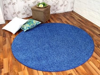 Hochflor Shaggy Teppich Prestige Blau Rund in 7 Größen