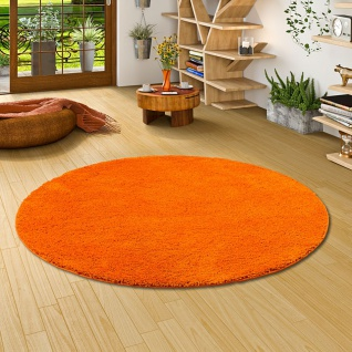 Hochflor Shaggy Teppich Palace Orange Rund
