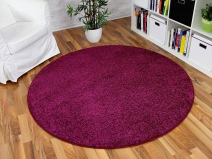Hochflor Velours Teppich Triumph Lila Rund in 7 Größen