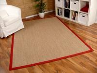 Sisal Astra Natur Teppich Nuss Bordüre Rot