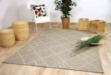 In & Outdoor Chenille Teppich Flachgewebe Scala Beige Karo Modern