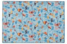 Kinder Spiel Teppich Velours Urwaldtiere Blau