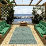 In- und Outdoor Teppich Beidseitig Flachgewebe Newport Grün Creme Punkte