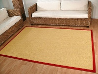 Sisal Astra Natur Teppich Honig Bordüre Rot