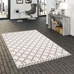 In- und Outdoor Teppich Beidseitig Flachgewebe Newport Modern Karo Silber