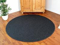 Teppich Bentzon Flachgewebe Anthrazit Rund in 7 Größen