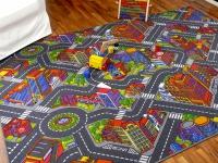 Kinder Spiel Teppich Straßenteppich 3D Big City Grau