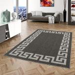 In- und Outdoor Teppich Beidseitig Flachgewebe Newport Römische Bordüre Anthrazit