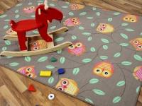 Kinder Spielteppich Eule Taupe in 24 Größen