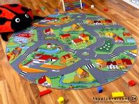 Kinder Spiel Teppich Little Village Grün Rund in 7 Größen