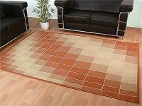 Flachgewebe Teppich Ruggy Terrakotta Beige
