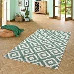 In- und Outdoor Teppich Beidseitig Flachgewebe Newport Grün Modern Karo
