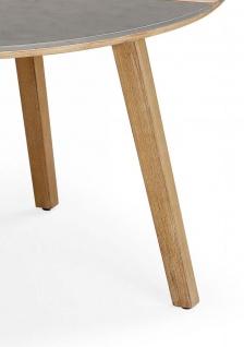 Exklusiver Dining-Tisch rund 140 cm Gartentisch Massivholz Tischplatte Beton Holzintarsie BF-Bonito - Vorschau 5