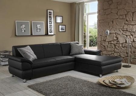 Ecksofa Recamiere Bettfunktion wählbar 2 Farben Kunstleder weiß schwarz DO-Beauty-2