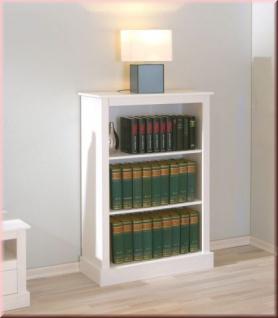 Regal Bücherregal 3 Fächer Landhausstil Massivholz weiß Holzmaserung sichtbar L-Palmas 4