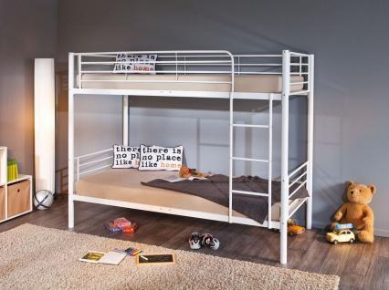 Etagenbett Bett Metall weiß Leiter Lattenroste Absturzschutz L-Emil
