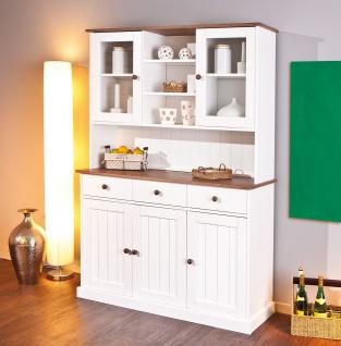 Buffet Vitrine Landhausstil Massivholz lackiert 2-farbig sepia-braun weiß Holzmaserung L-Wendy-6