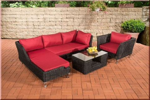 4-tlg Lounge Gartenmöbel Lounge Set Kissen 5 Farben Rattan schwarz CL-Mayis-S
