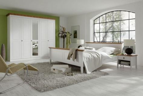 4-tlg. Schlafzimmer Doppelbett Kleiderschrank Nachttische Masivholz Kiefer weiß bernstein F-Cantania