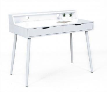 Retro Schreibtisch 2 Schubladen Kabeldurchführung MDF Metall weiß L-Pipe