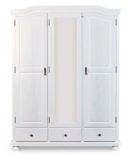 Kleiderschrank Garderobenschrank 2 Größen 2-türig 3-türig Massivholz weiß Landhausstil L-Karol