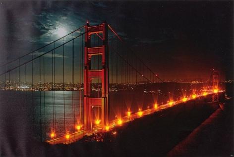LED Bild 14 amberfarbige LEDs San Francisco Hängebrücke beleuchtet 60 x 40 H-Golden Gate