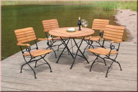 5-tlg Sitzgruppe Dining Set Gartentisch Ø 100 cm klappbar Massivholz AW-Franko-Set-1