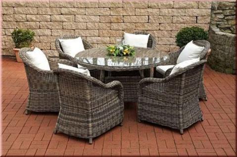 7-tlg Lounge Sitzgruppe Dining Set Sessel Tisch Ø 130, 5 cm Rattan grau-braun-meliert CL-Solara-2