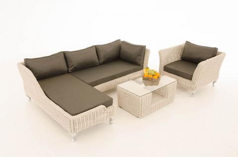 4-tlg Lounge Set Kissen 5 Farben Polyrattan weiß CL-Mayis-W