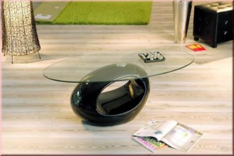 Couchtisch oval 2 Farben Glastisch weiß schwarz L-Niagli/Pruzi