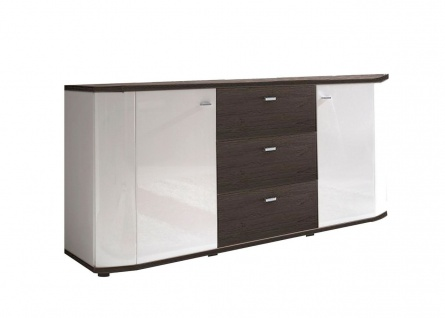 Sideboard 2 Farben Farbmix hochglanz-weiß/Eiche Grandson-Oak/Kiefer-weiß 167 cm F-Graz-S