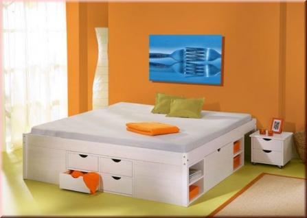 Bett Doppelbett Komforthöhe 5 Größen Massivholz weiß Lattenrost Schubkästen Nachttisch L-Telli