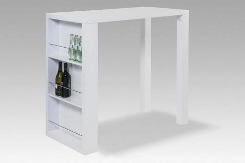 Stehtisch rechteckig Theke Bar Hochglanz weiß 3 Fächer Flaschenfach R-Fete