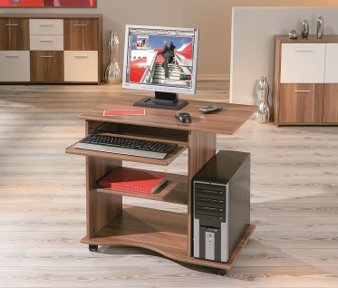Computertisch Schreibtisch rollbar 3 Farben Sonoma Weiß Walnuß L-Dora - Vorschau 1