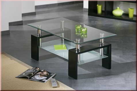 Couchtisch 3 Farben Sonoma-Eiche schwarz weiß Glastisch Glasplatte Ablge L-Allvi