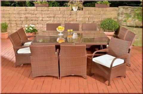 11-tlg XXL Dining Sitzgruppe Gartenmöbel 10 x Stuhl XXL Tisch Auflagen Rattan 4 Farben CL-Piazza