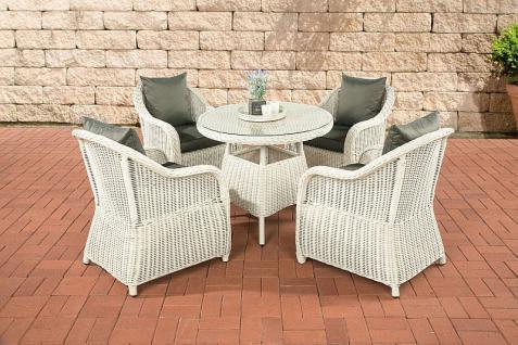 5-tlg Sitzgruppe Dining Lounge Sessel Kissen 5 Farben Tisch Rattan perlweiß CL-Fabio-W