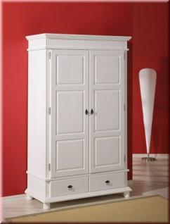 Schrank Garderobenschrank Landhausstil Massivholz 2-türig weiß 200 cm hoch L-Dank-2 - Vorschau 1