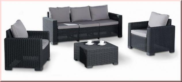 4 tlg lounge sitzgruppe gartenlounge set 2 sessel 3er sofa tisch kissenbox auflagen bf miami. Black Bedroom Furniture Sets. Home Design Ideas