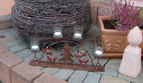 Teelichthalter Rentier Metall braun 4x Glas Schwibbogen Rost-Optik außen Weihnacht F-Rudolf - Vorschau 3