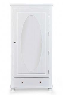 Dielenschrank 1-türig Spiegel Massivholz weiß Landhausstil Garderobenschrank L-Pira
