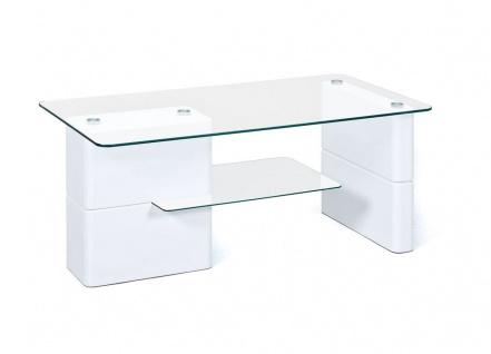 Moderner Couchtisch Glasplatte Ablage Glas Hochglanz weiß 110 x 55 cm L-Asti