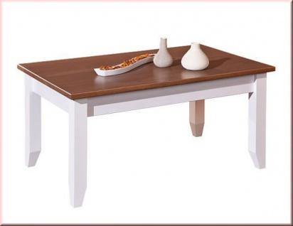 Couchtisch rechteckig Landhausstil Massivholz lackiert 2-farbig sepia-braun weiß L-Wendy-2